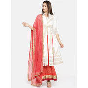 A white long kurta with orange skirt and dupatta set - Ira Soleil