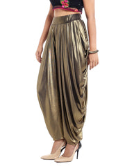 Antique Gold patiala made with stretched lycra shimmer fabric - Ira Soleil