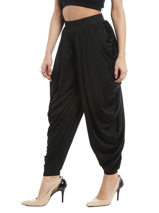 Black patiala made with stretched lycra shimmer fabric - Ira Soleil