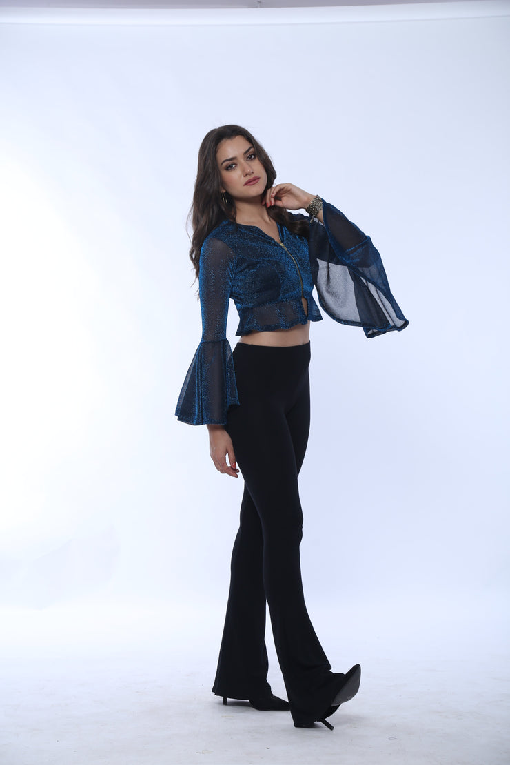 Long  Sleeved Blue peplum Crop Jacket - Ira Soleil