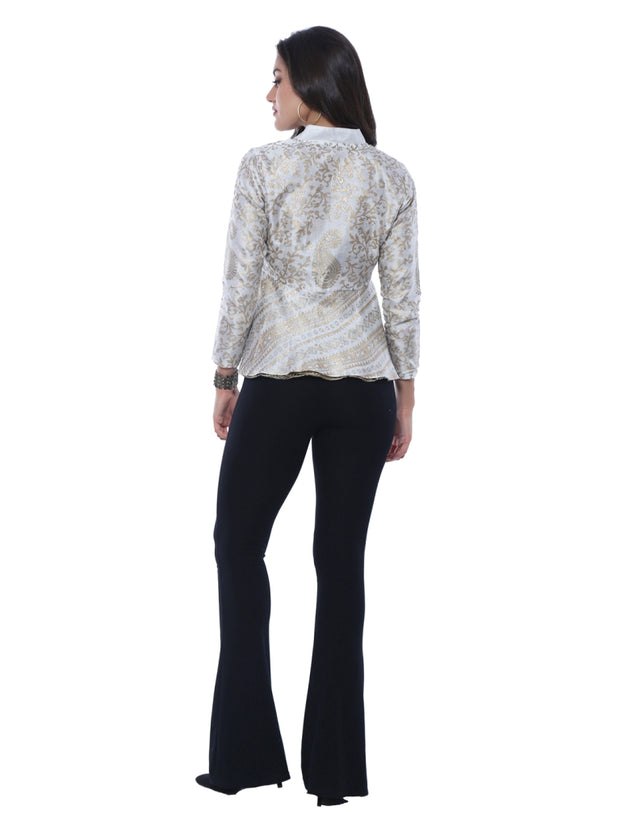 Ira Soleil New Gold and White Reversible All Over Printed Jacket Jacketwith zipper close - Ira Soleil