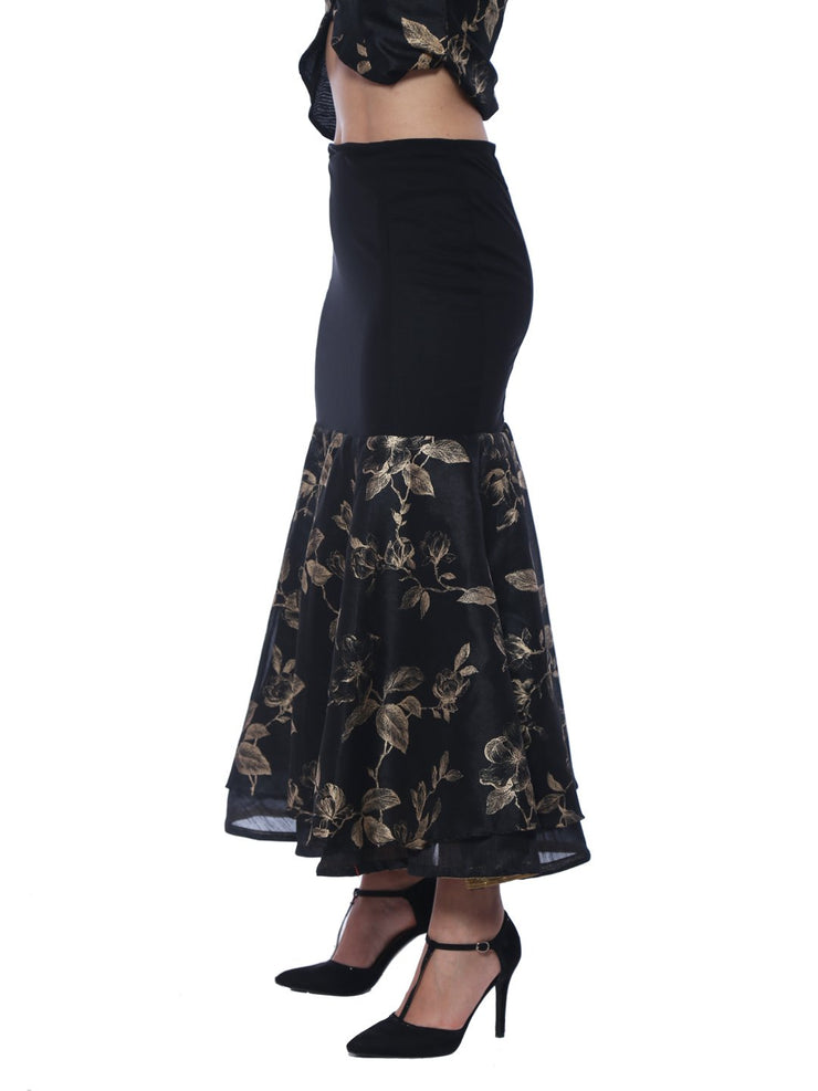 Black Mermaid Skirt constructed in Woven and knitted Fabric - Ira Soleil