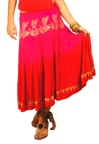 ira-soleil-pink-red-dip-dyed-with-gold-tinsel-print-hipster-skirt