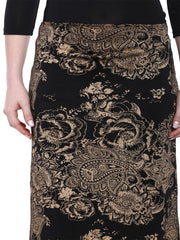 Black all over printed long skirt made with polyester lycra - Ira Soleil