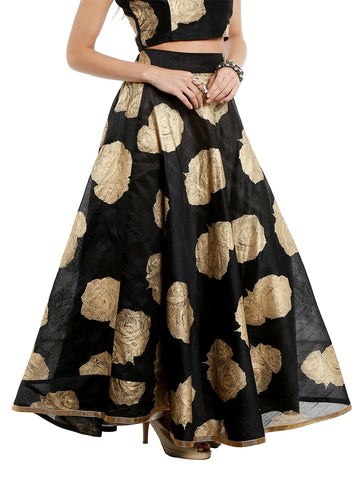 ira-soleil-black-skirt-printed-with-gold-tinsel-print