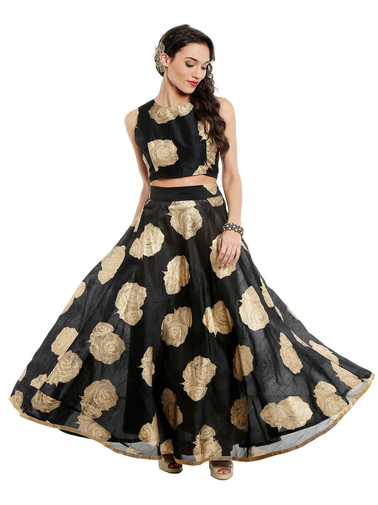 Black skirt printed with gold tinsel print - Ira Soleil