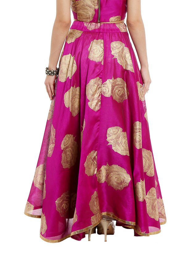 Pink skirt printed with gold tinsel print - Ira Soleil