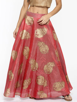 Ira Soleil New Pink and Brown Reversible Skirt with Gold Floral Print