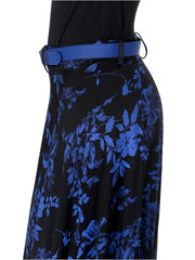 Black with Blue all over printed flared skirt made of polyester lycra fabric with belt - Ira Soleil