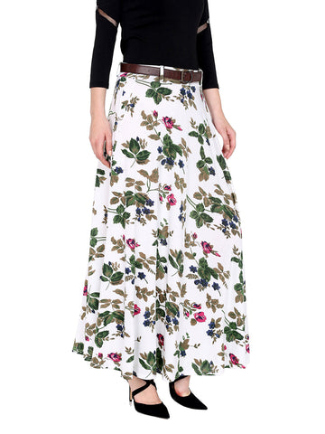 Ira Soleil White all over printed flared skirt made of polyester lycra fabric with belt