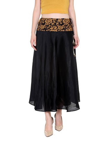 Ira Soleil Black Flared skirt with block print
