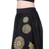 Ira Soleil all over printed flared skirt with gold tinsel print
