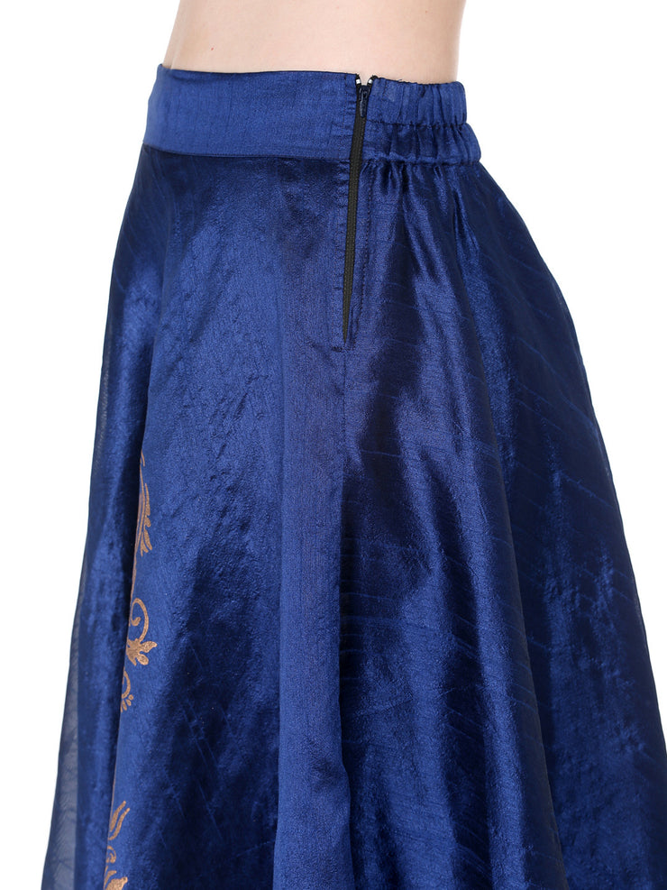 Ira Soleil Blue flared skirt with silver print - Ira Soleil