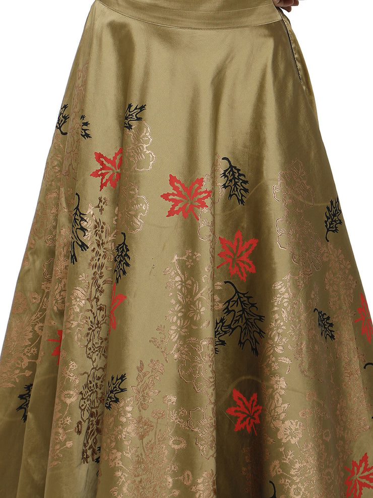 Ira Soleil Gold Skirt with tinsel print - Ira Soleil