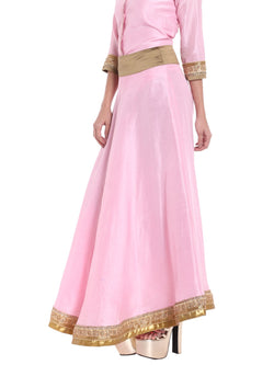 Ira Soleil Pink Flared skirt with Lace
