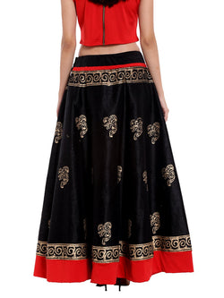 Ira soleil Black long block printed skirt in dupion fabric