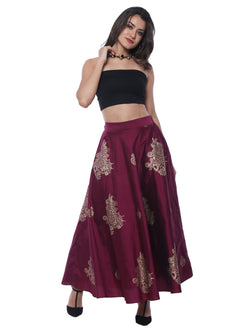 Gold & Purple New Reversible Skirt with Gold Print