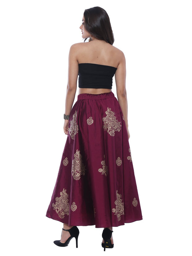 Gold & Wine New Reversible Skirt with Gold Print - Ira Soleil