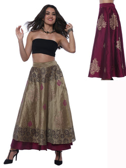 Gold & Purple New Reversible Skirt with Gold Print - Ira Soleil