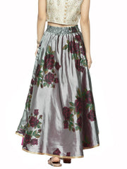 Grey All over Floral Printed Flared Skirt - Ira Soleil
