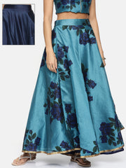 Blue & Royal Blue New Reversible Skirt with Print - Ira Soleil