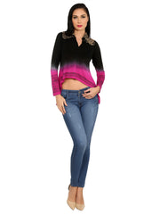 Viscose knitted stretchable high low black and pink shaded viscose top - Ira Soleil