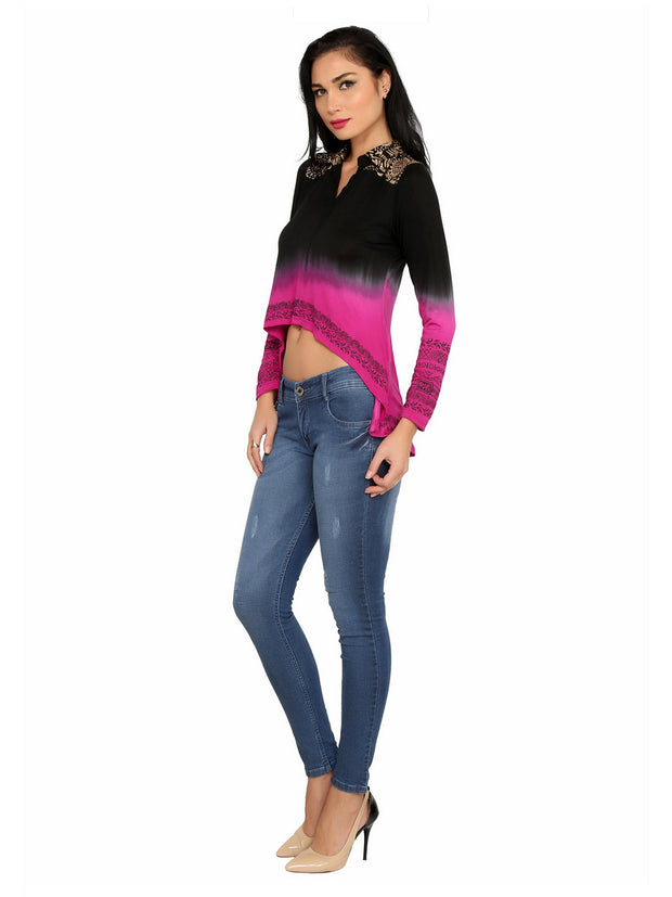 Viscose knitted stretchable high low black and pink shaded viscose top