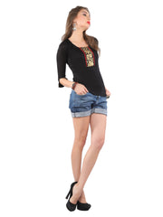Black stretchable short top embroidered lace patch. - Ira Soleil