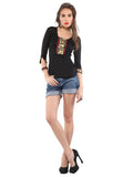 ira-soleil-black-viscose-knitted-stretchable-lace-3-4-sleeves-short-womens-short-top