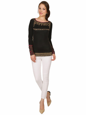 Ira Soleil Black Polyester Knitted stretchable Block Printed long sleeve women's short top
