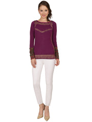 Ira Soleil Purple Polyester Knitted stretchable Block Printed long sleeve women's short top - Ira Soleil