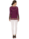 Ira Soleil Purple Polyester Knitted stretchable Block Printed long sleeve women's short top