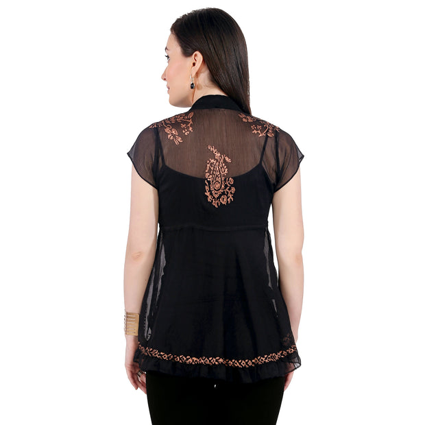 Black block printed poly chiffon cap sleeve womens top - Ira Soleil
