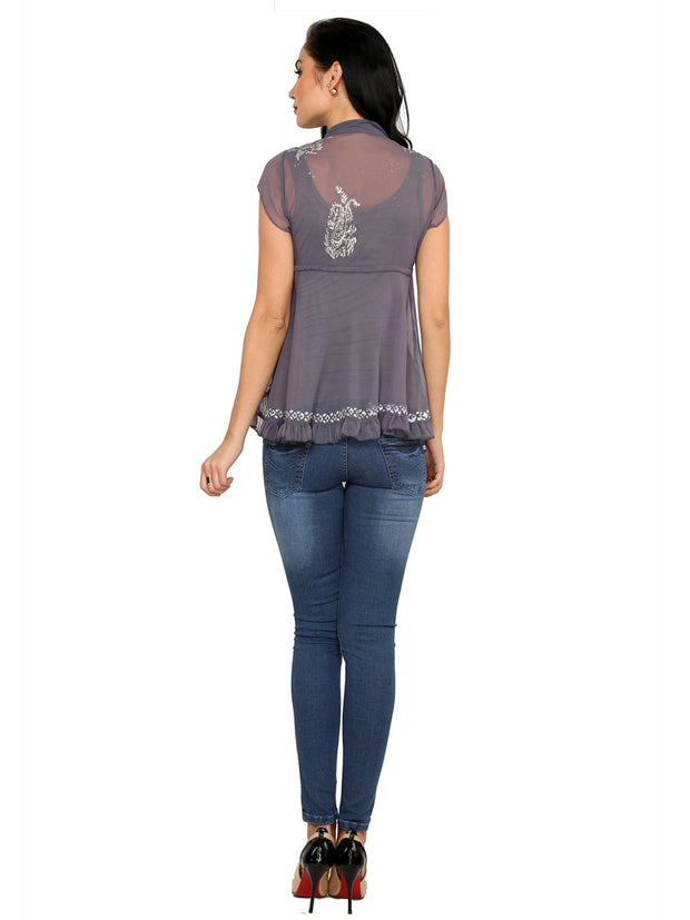 Grey block printed poly chiffon cap sleeve womens top - Ira Soleil