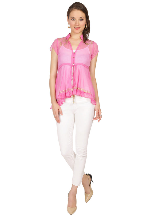 ira-soleil-pink-block-printed-poly-chiffon-cap-sleeve-womens-top - Ira Soleil