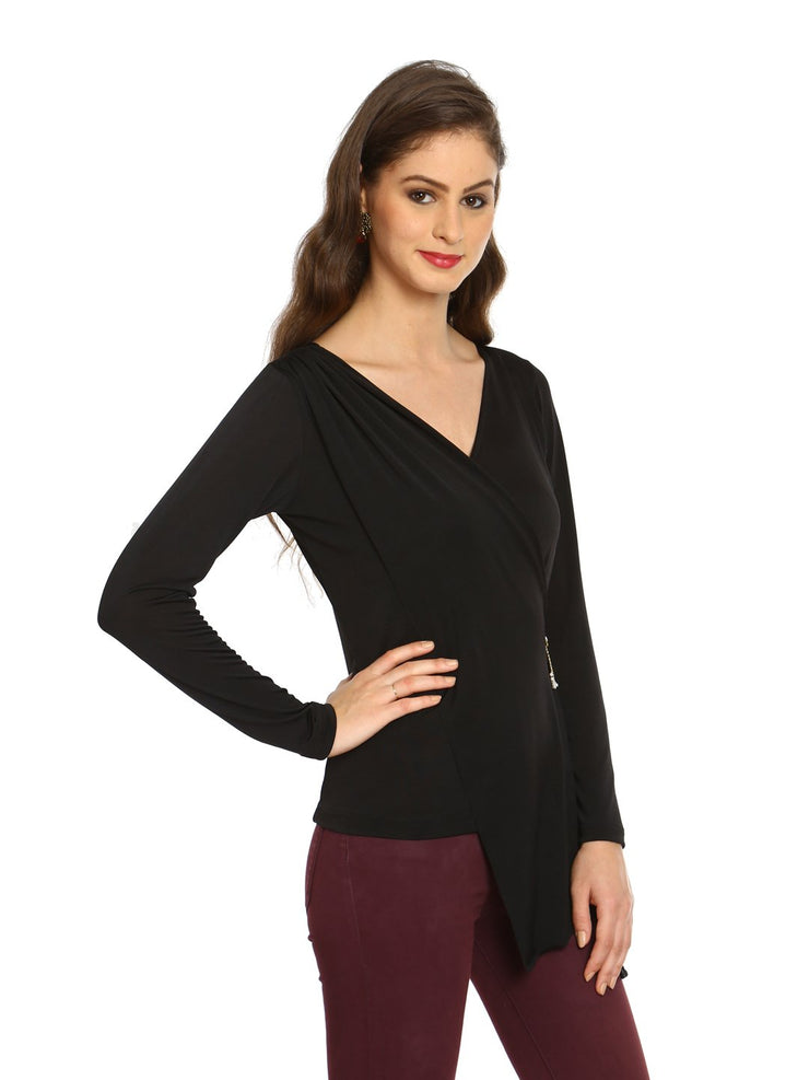 Black Polyester Knitted stretchable long sleeve women's short top - Ira Soleil