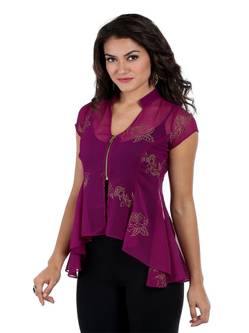 ira-soleil-cap-sleeves-top-with-zipper-made-in-chiffon-fabric-with-gold-tinsel-print