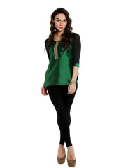 ira-soleil-green-top-with-embroidered-lace - Ira Soleil