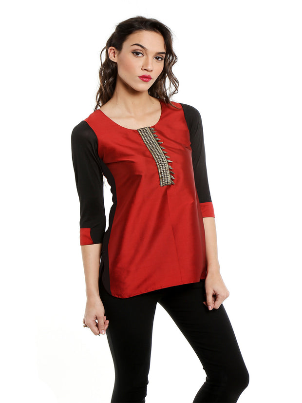 Maroon top with embroidered lace and 3/4th Sleeves - Ira Soleil