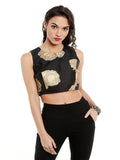 ira-soleil-black-crop-top-with-gold-tinsel-print