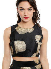 Black crop top with gold tinsel print - Ira Soleil