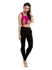 Pink crop top with gold tinsel print - Ira Soleil