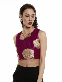 Wine crop top with gold tinsel print