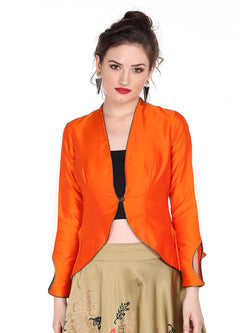 Ira Soleil Orange Peplum Top made with taffeta fabric