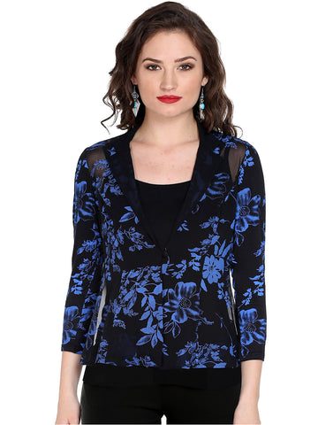 Ira Soleil Black all over floral print Top