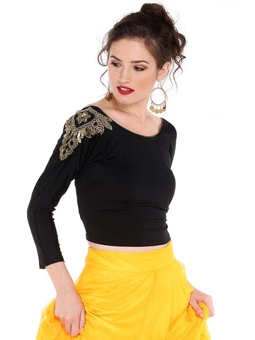 Ira Soleil Black Top with Embrodered patch on shoulder made with strtched polyester lycra