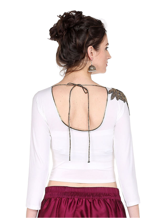 Ira Soleil White Top with Embrodered patch on shoulder made with strtched polyester lycra - Ira Soleil