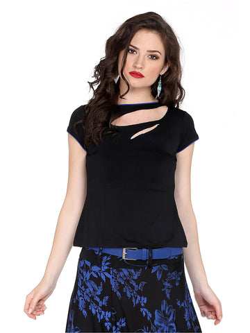 Ira Soleil Black Top made with stretched polyester fabric