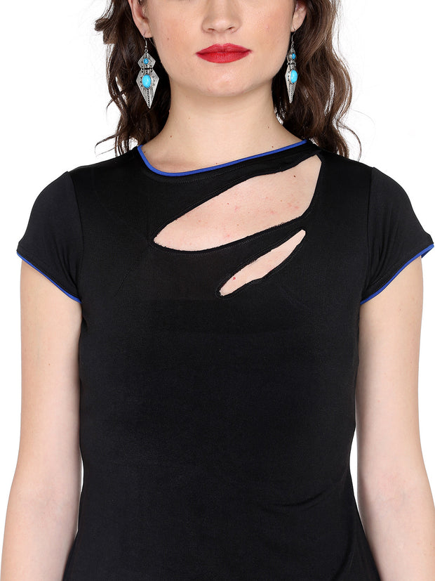 Black Top made with stretched polyester fabric - Ira Soleil