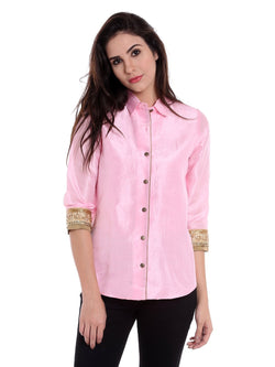 Ira Soleil Pink Jacket in Dupion Fabric
